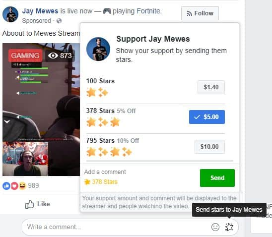 Facebook Star Livestreaming