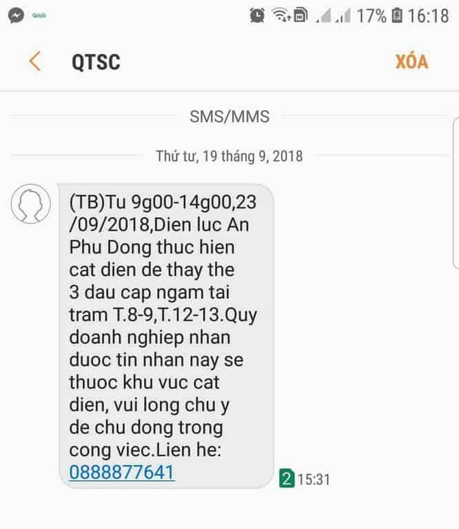 Tin nhắn thông báo cắt điện gửi ngày 19/09/2018
