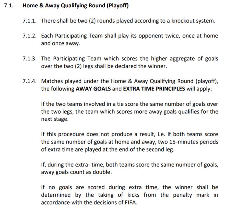 điều số 7.1 luật bóng đá củaaseanfootball về cách tính kết quả lượt đi lượt về