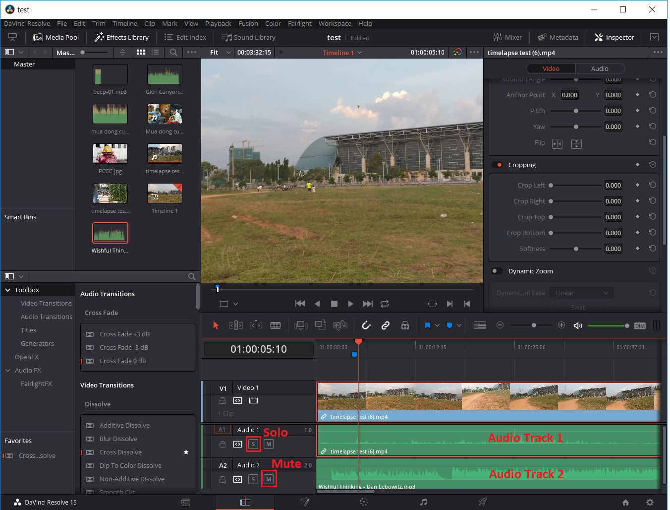 Davinci Resolve - Audio Track