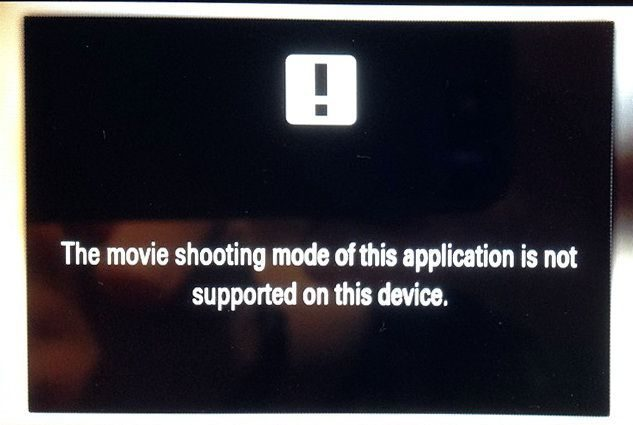 The movie shooting mode of this application is not supported on this device
