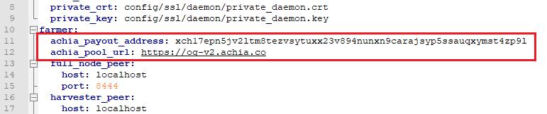 Điền aChia URL và Payout Address vào file config.yaml