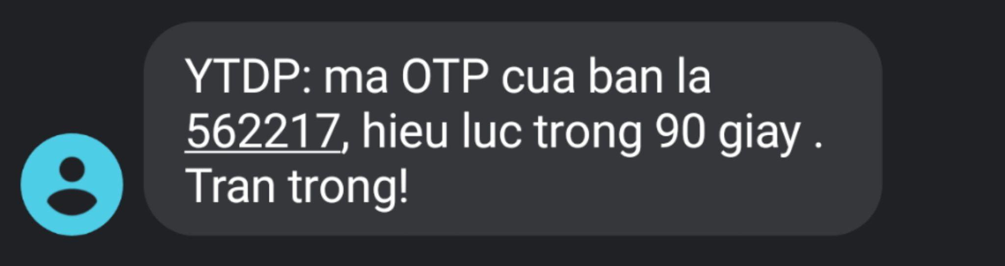 mã OTP gởi vào điện thoại